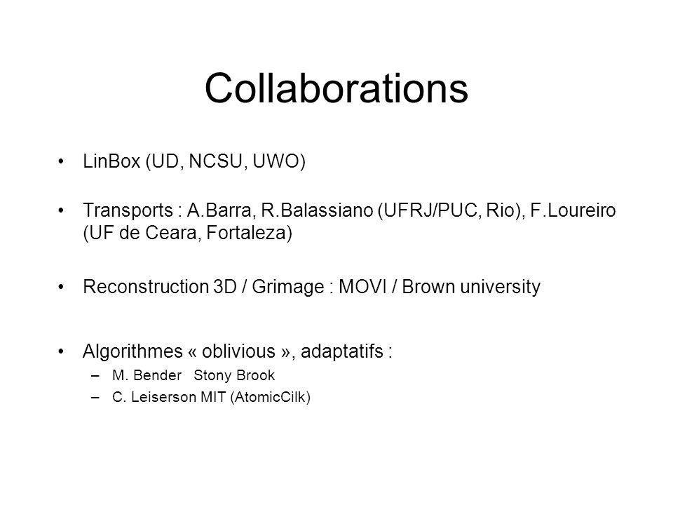 Collaborations LinBox (UD, NCSU, UWO) Transports : A.Barra, R.Balassiano (UFRJ/PUC, Rio), F.Loureiro (UF de Ceara, Fortaleza) Reconstruction 3D / Grim