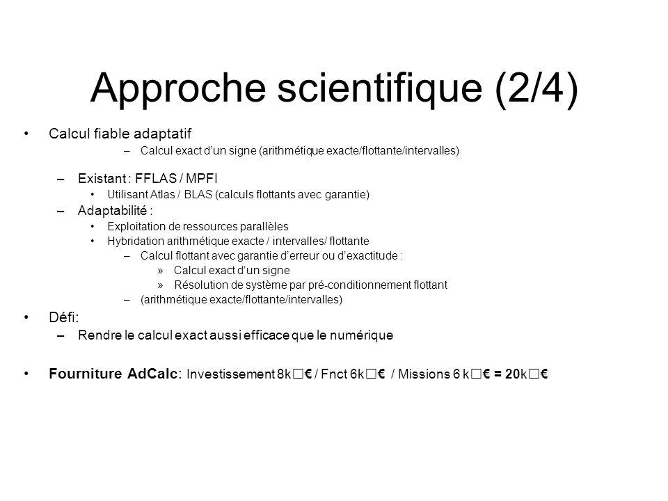 Approche scientifique (2/4) Calcul fiable adaptatif –Calcul exact dun signe (arithmétique exacte/flottante/intervalles) –Existant : FFLAS / MPFI Utili