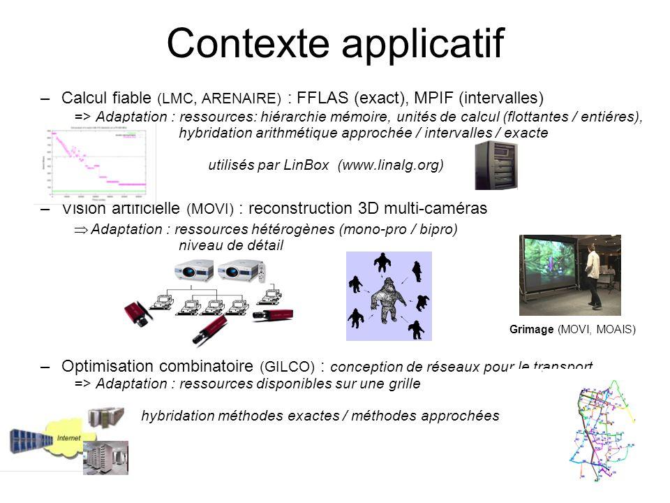 –Calcul fiable (LMC, ARENAIRE) : FFLAS (exact), MPIF (intervalles) => Adaptation : ressources: hiérarchie mémoire, unités de calcul (flottantes / enti