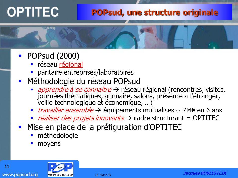 www.popsud.org 16 Mars 04 11 POPsud, une structure originale POPsud (2000) réseau régional paritaire entreprises/laboratoires Méthodologie du réseau P