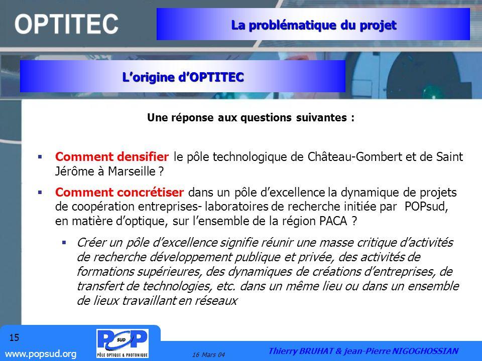 www.popsud.org 16 Mars 04 15 Une réponse aux questions suivantes : Comment densifier le pôle technologique de Château-Gombert et de Saint Jérôme à Mar