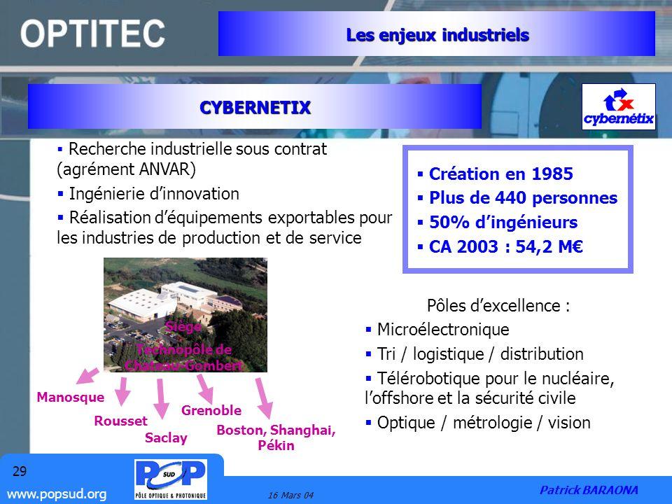 www.popsud.org 16 Mars 04 29 CYBERNETIX Les enjeux industriels Patrick BARAONA Pôles dexcellence : Microélectronique Tri / logistique / distribution T