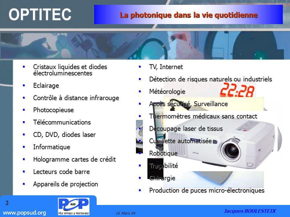 www.popsud.org 16 Mars 04 3 La photonique dans la vie quotidienne Cristaux liquides et diodes électroluminescentes Cristaux liquides et diodes électro
