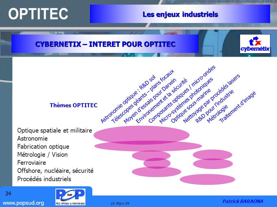 www.popsud.org 16 Mars 04 34 Les enjeux industriels Patrick BARAONA CYBERNETIX – INTERET POUR OPTITEC Optique spatiale et militaire Astronomie Fabrica