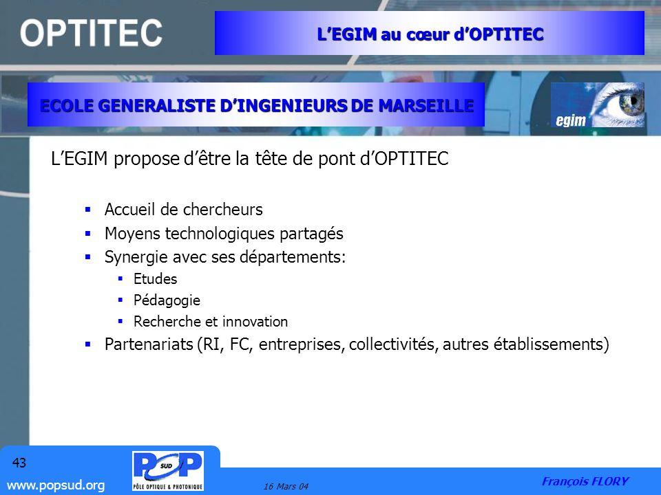 www.popsud.org 16 Mars 04 43 LEGIM propose dêtre la tête de pont dOPTITEC Accueil de chercheurs Moyens technologiques partagés Synergie avec ses dépar
