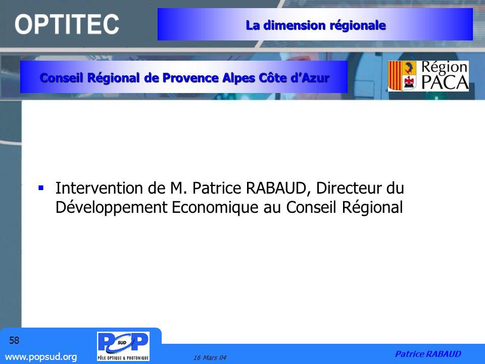 www.popsud.org 16 Mars 04 58 Intervention de M. Patrice RABAUD, Directeur du Développement Economique au Conseil Régional Conseil Régional de Provence