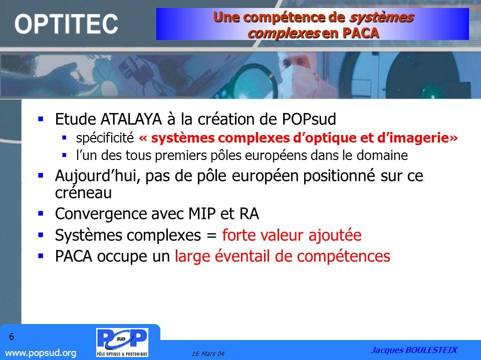 www.popsud.org 16 Mars 04 6 Etude ATALAYA à la création de POPsud spécificité « systèmes complexes doptique et dimagerie» lun des tous premiers pôles