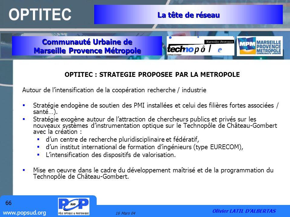 www.popsud.org 16 Mars 04 66 OPTITEC : STRATEGIE PROPOSEE PAR LA METROPOLE Autour de lintensification de la coopération recherche / industrie Stratégi