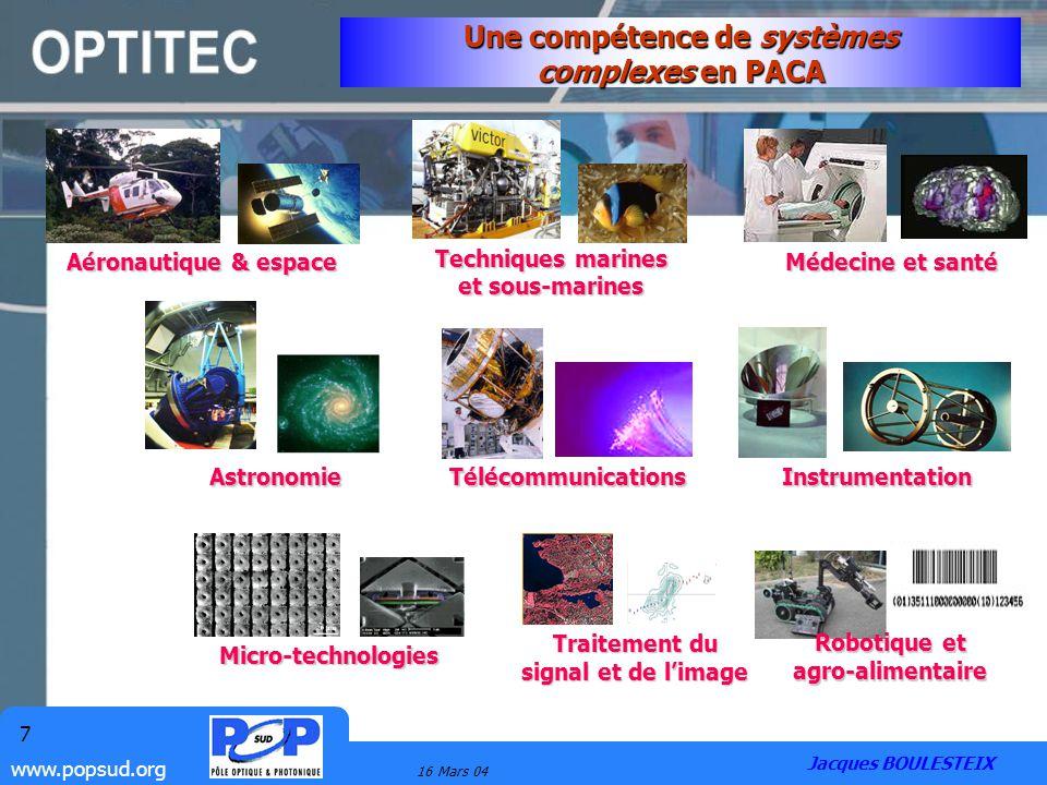 www.popsud.org 16 Mars 04 7 Une compétence de systèmes complexes en PACA Aéronautique & espace Techniques marines et sous-marines Instrumentation Micr