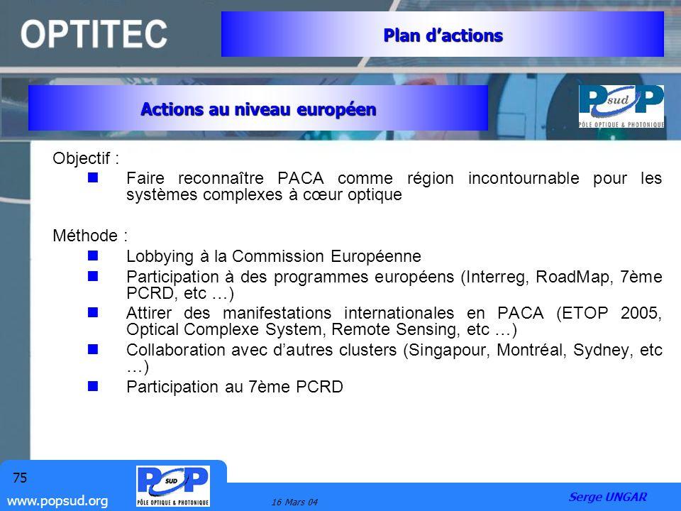 www.popsud.org 16 Mars 04 75 Objectif : Faire reconnaître PACA comme région incontournable pour les systèmes complexes à cœur optique Méthode : Lobbyi