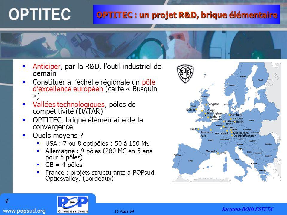 www.popsud.org 16 Mars 04 9 OPTITEC : un projet R&D, brique élémentaire Anticiper, par la R&D, loutil industriel de demain Constituer à léchelle régio