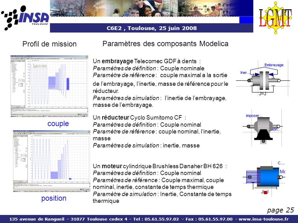 C6E2, Toulouse, 25 juin 2008 135 avenue de Rangueil – 31077 Toulouse cedex 4 – Tel : 05.61.55.97.02 – Fax : 05.61.55.97.00 - www.insa-toulouse.fr page 25 Profil de mission position couple Un réducteur Cyclo Sumitomo CF : Paramètres de définition : Couple nominal Paramètre de référence : couple nominal, linertie, masse Paramètres de simulation : inertie, masse Un moteur cylindrique Brushless Danaher BH 626 : Paramètres de définition : Couple nominal Paramètres de référence : Couple maximal, couple nominal, inertie, constante de temps thermique Paramètre de simulation : Inertie, Constante de temps thermique Un embrayage Telecomec GDF à dents : Paramètres de définition : Couple nominale Paramètre de référence : couple maximal a la sortie de lembrayage, linertie, masse de référence pour le réducteur.