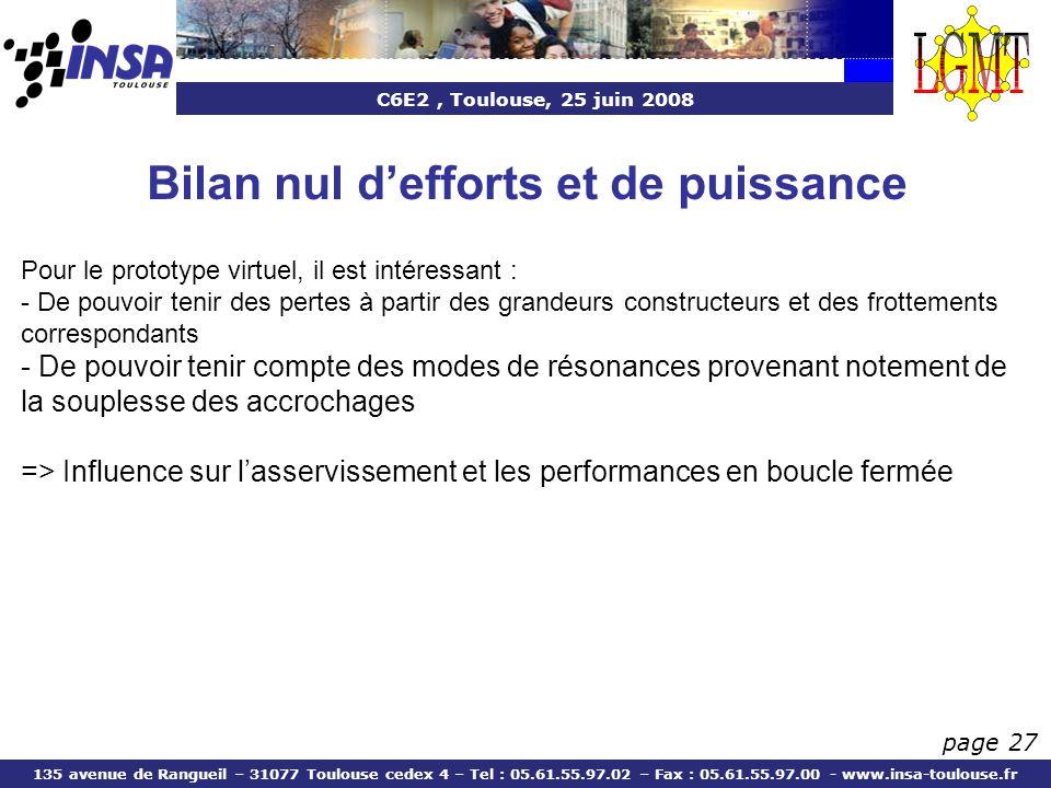 C6E2, Toulouse, 25 juin 2008 135 avenue de Rangueil – 31077 Toulouse cedex 4 – Tel : 05.61.55.97.02 – Fax : 05.61.55.97.00 - www.insa-toulouse.fr page 27 Bilan nul defforts et de puissance Pour le prototype virtuel, il est intéressant : - De pouvoir tenir des pertes à partir des grandeurs constructeurs et des frottements correspondants - De pouvoir tenir compte des modes de résonances provenant notement de la souplesse des accrochages => Influence sur lasservissement et les performances en boucle fermée