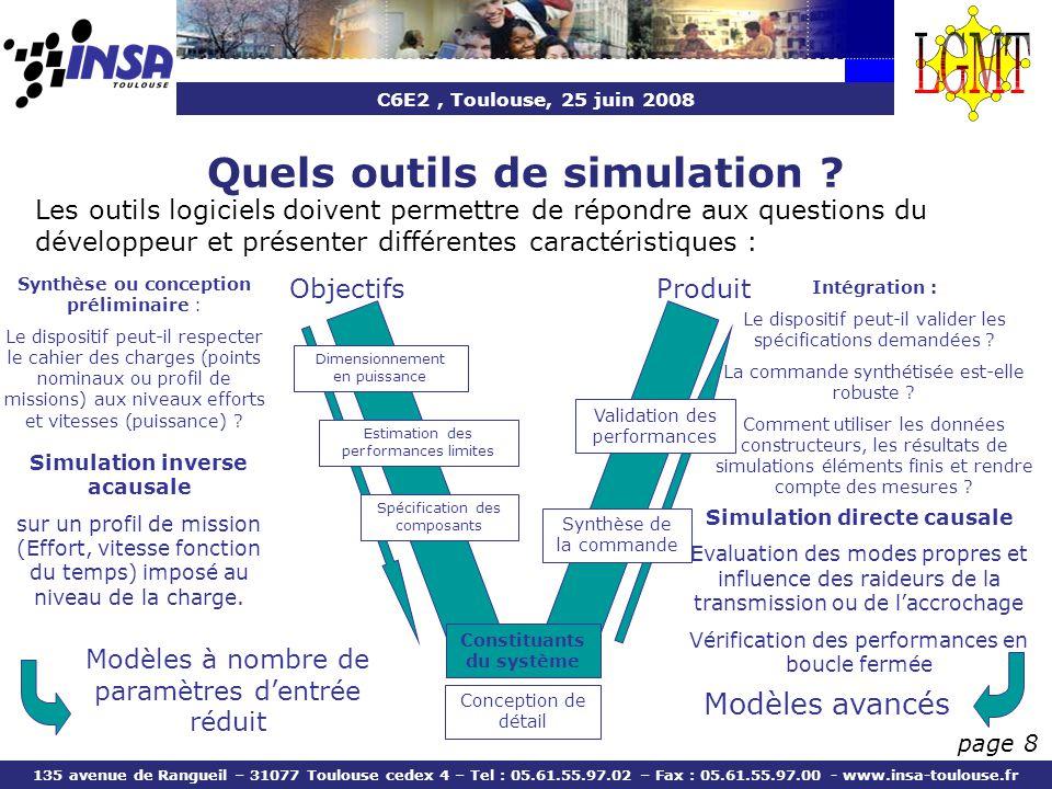 C6E2, Toulouse, 25 juin 2008 135 avenue de Rangueil – 31077 Toulouse cedex 4 – Tel : 05.61.55.97.02 – Fax : 05.61.55.97.00 - www.insa-toulouse.fr page 8 Les outils logiciels doivent permettre de répondre aux questions du développeur et présenter différentes caractéristiques : Modèles à nombre de paramètres dentrée réduit Modèles avancés Intégration : Le dispositif peut-il valider les spécifications demandées .