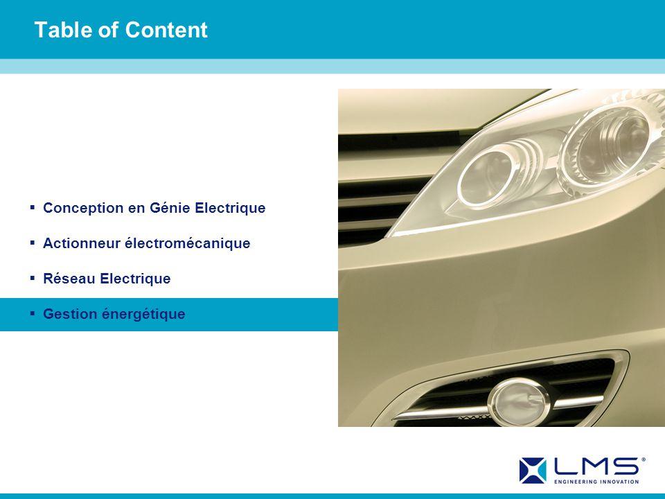 Table of Content Conception en Génie Electrique Actionneur électromécanique Réseau Electrique Gestion énergétique