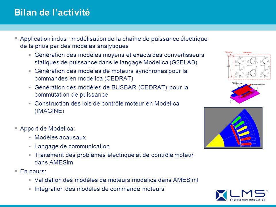 Bilan de lactivité Application indus : modélisation de la chaîne de puissance électrique de la prius par des modèles analytiques Génération des modèles moyens et exacts des convertisseurs statiques de puissance dans le langage Modelica (G2ELAB) Génération des modèles de moteurs synchrones pour la commandes en modelica (CEDRAT) Génération des modèles de BUSBAR (CEDRAT) pour la commutation de puissance Construction des lois de contrôle moteur en Modelica (IMAGINE) Apport de Modelica: Modèles acausaux Langage de communication Traitement des problèmes électrique et de contrôle moteur dans AMESim En cours: Validation des modèles de moteurs modelica dans AMESiml Intégration des modèles de commande moteurs