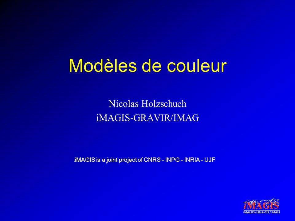i MAGIS is a joint project of CNRS - INPG - INRIA - UJF iMAGIS-GRAVIR / IMAG Modèles de couleur Nicolas Holzschuch iMAGIS-GRAVIR/IMAG