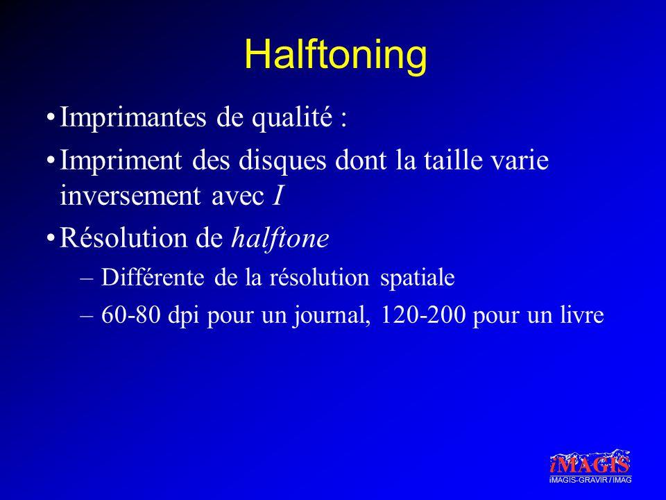 iMAGIS-GRAVIR / IMAG Halftoning Imprimantes de qualité : Impriment des disques dont la taille varie inversement avec I Résolution de halftone –Différe