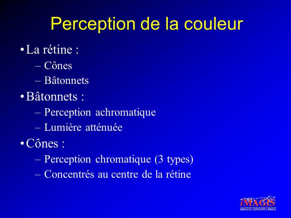 iMAGIS-GRAVIR / IMAG Perception de la couleur La rétine : –Cônes –Bâtonnets Bâtonnets : –Perception achromatique –Lumière atténuée Cônes : –Perception