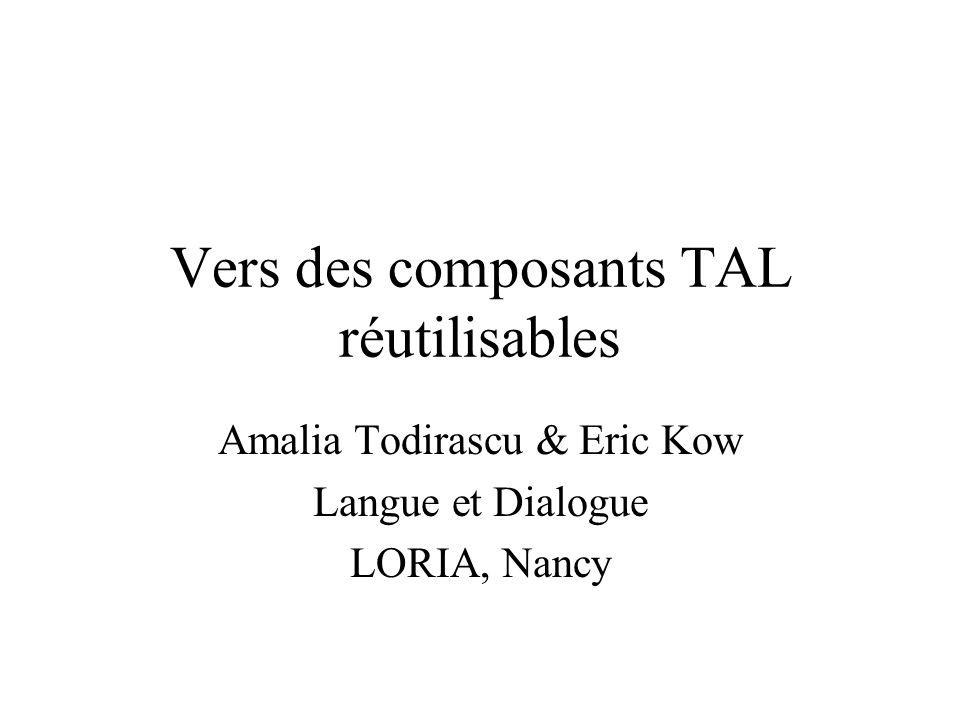 Vers des composants TAL réutilisables Amalia Todirascu & Eric Kow Langue et Dialogue LORIA, Nancy