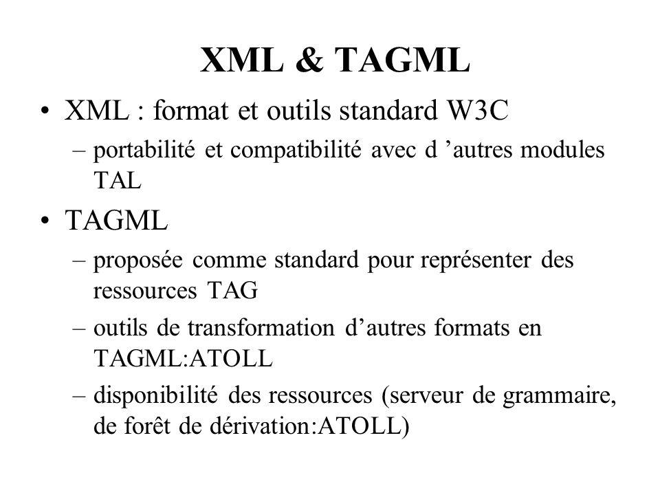 XML & TAGML XML : format et outils standard W3C –portabilité et compatibilité avec d autres modules TAL TAGML –proposée comme standard pour représente