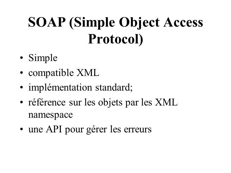SOAP (Simple Object Access Protocol) Simple compatible XML implémentation standard; référence sur les objets par les XML namespace une API pour gérer