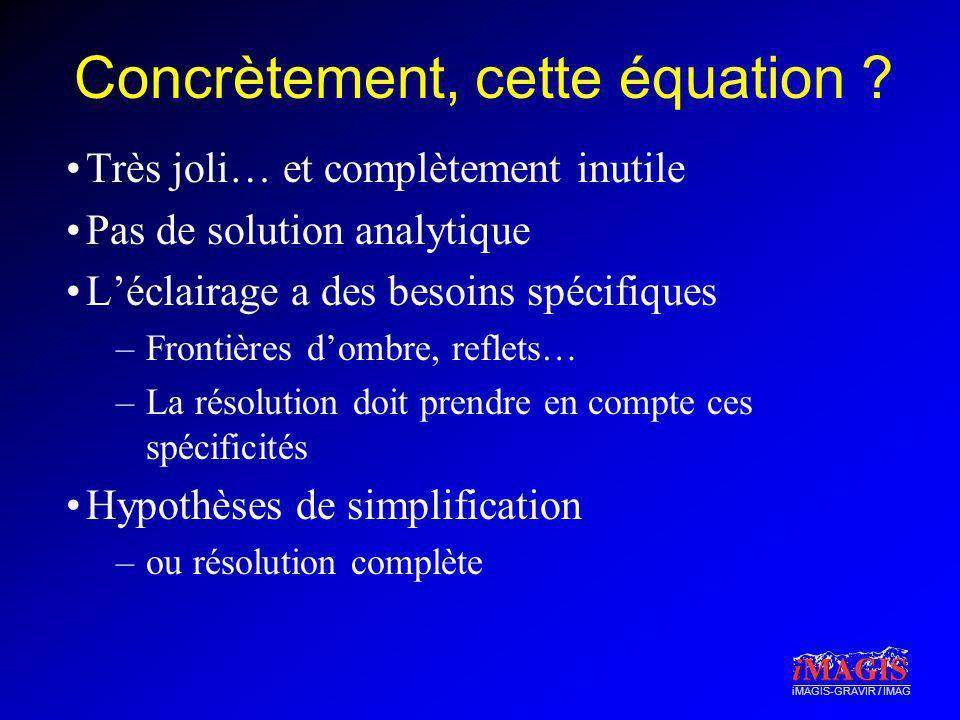 iMAGIS-GRAVIR / IMAG Concrètement, cette équation ? Très joli… et complètement inutile Pas de solution analytique Léclairage a des besoins spécifiques
