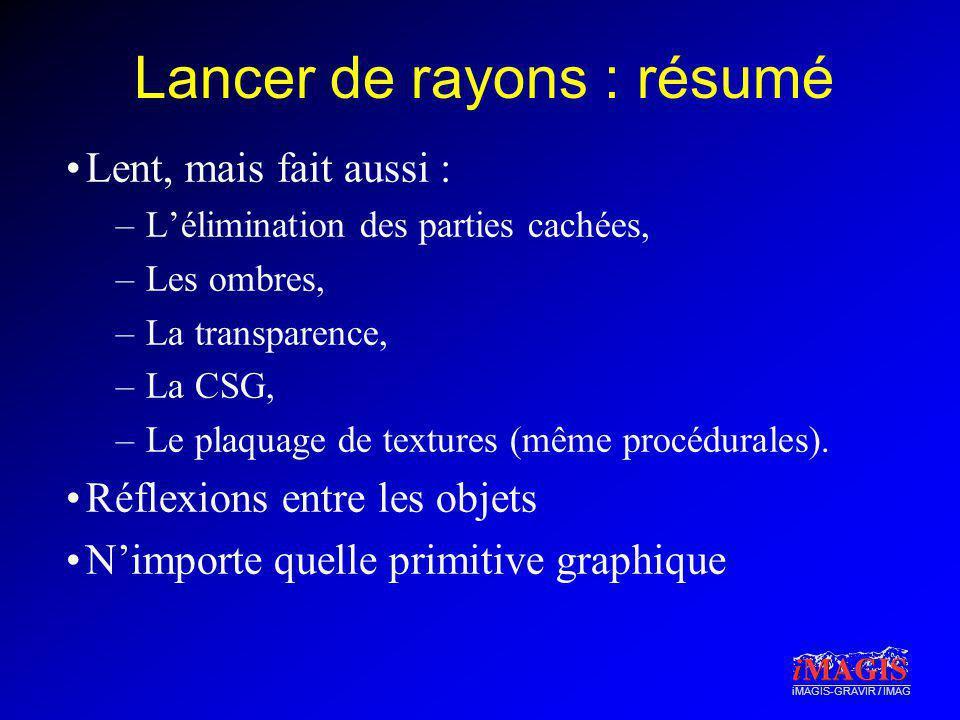 iMAGIS-GRAVIR / IMAG Lancer de rayons : résumé Lent, mais fait aussi : –Lélimination des parties cachées, –Les ombres, –La transparence, –La CSG, –Le