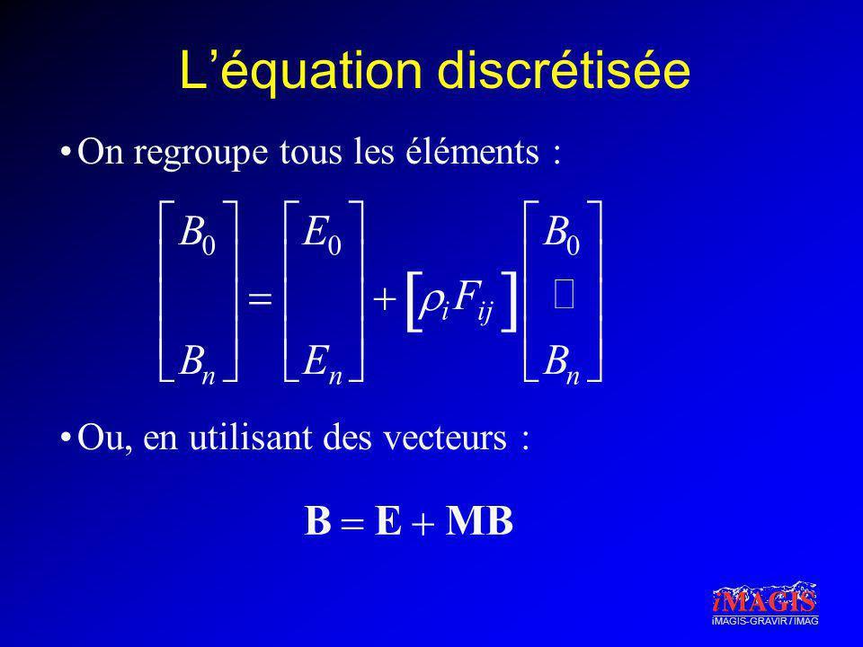 iMAGIS-GRAVIR / IMAG Léquation discrétisée On regroupe tous les éléments : Ou, en utilisant des vecteurs : B 0 B n E 0 E n i F ij B 0 B n B E MB