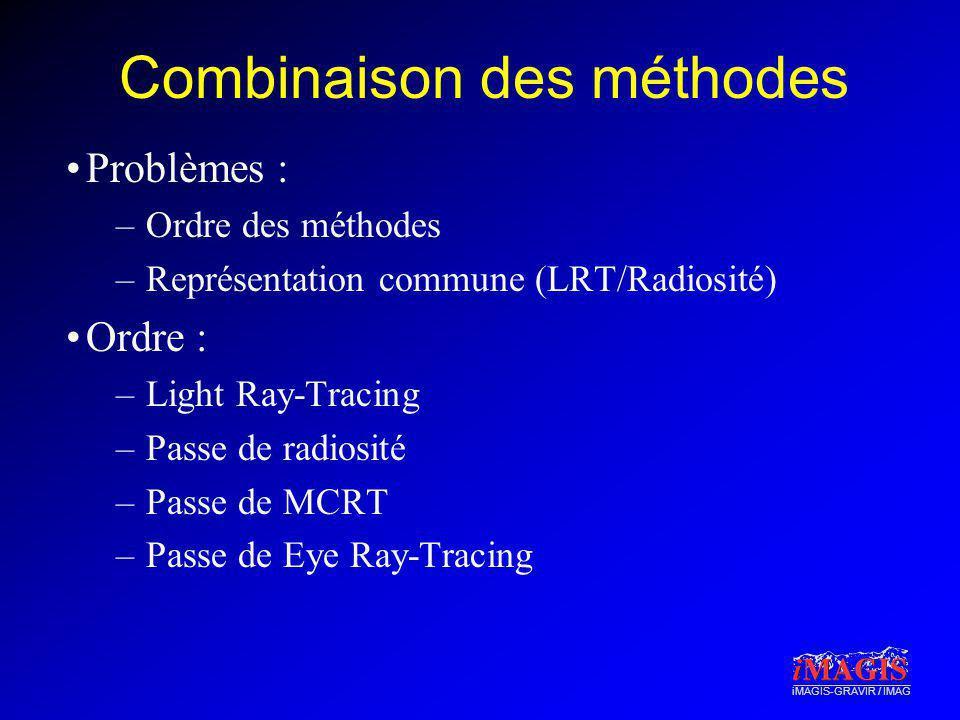 iMAGIS-GRAVIR / IMAG Combinaison des méthodes Problèmes : –Ordre des méthodes –Représentation commune (LRT/Radiosité) Ordre : –Light Ray-Tracing –Pass