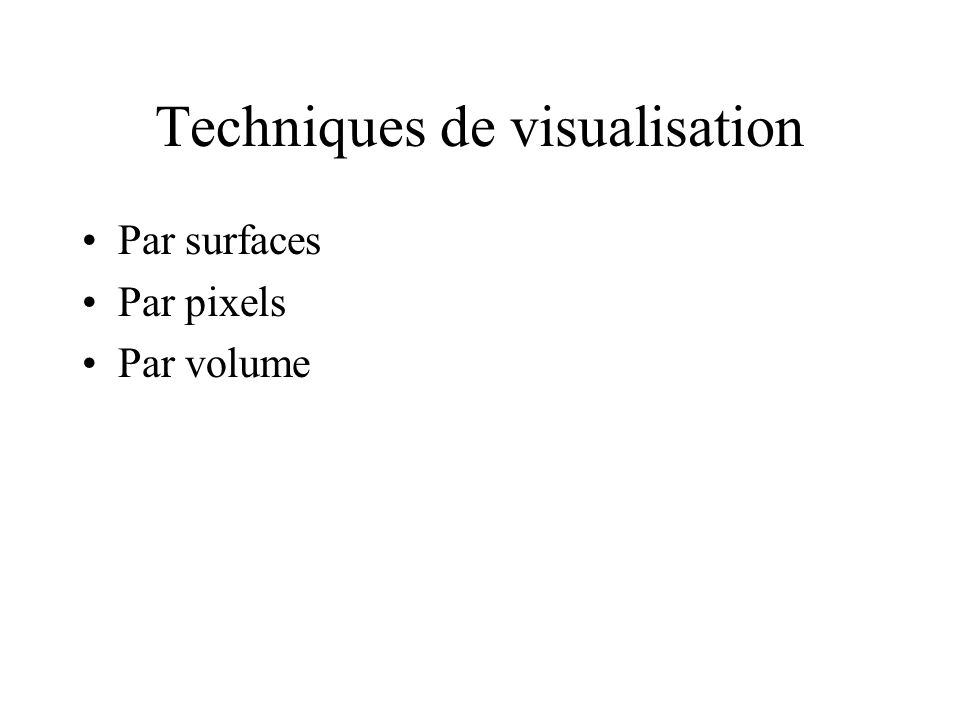 Techniques de visualisation Par surfaces Par pixels Par volume