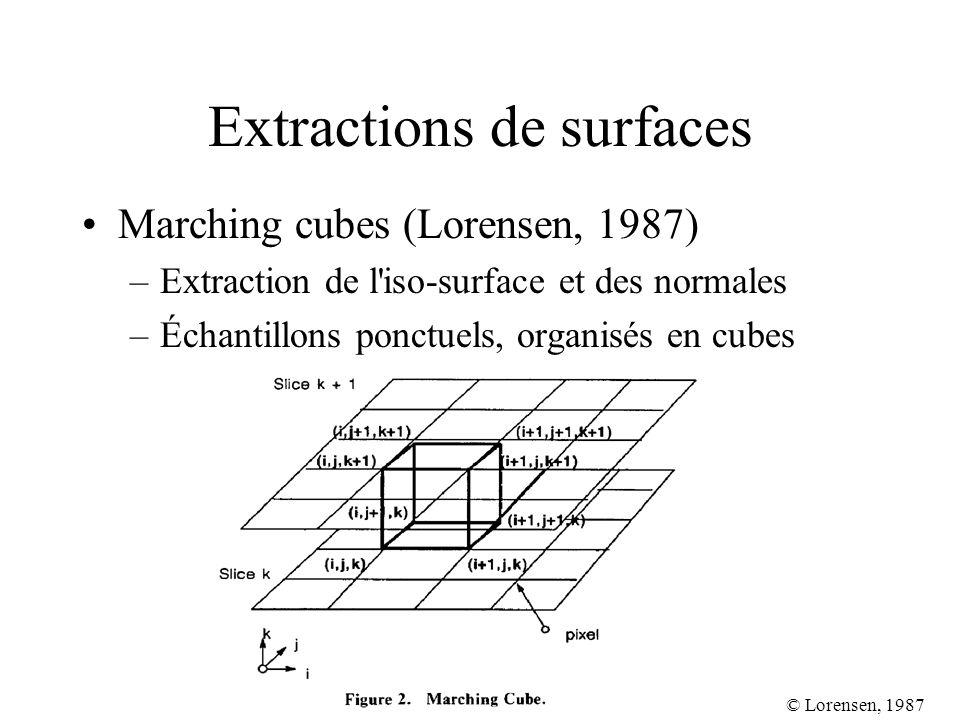 Extractions de surfaces Marching cubes (Lorensen, 1987) –Extraction de l'iso-surface et des normales –Échantillons ponctuels, organisés en cubes © Lor