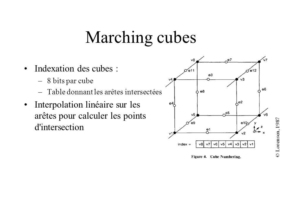 Marching cubes Indexation des cubes : –8 bits par cube –Table donnant les arêtes intersectées Interpolation linéaire sur les arêtes pour calculer les points d intersection © Lorensen, 1987