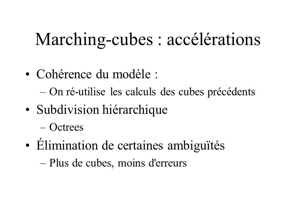 Marching-cubes : accélérations Cohérence du modèle : –On ré-utilise les calculs des cubes précédents Subdivision hiérarchique –Octrees Élimination de certaines ambiguïtés –Plus de cubes, moins d erreurs