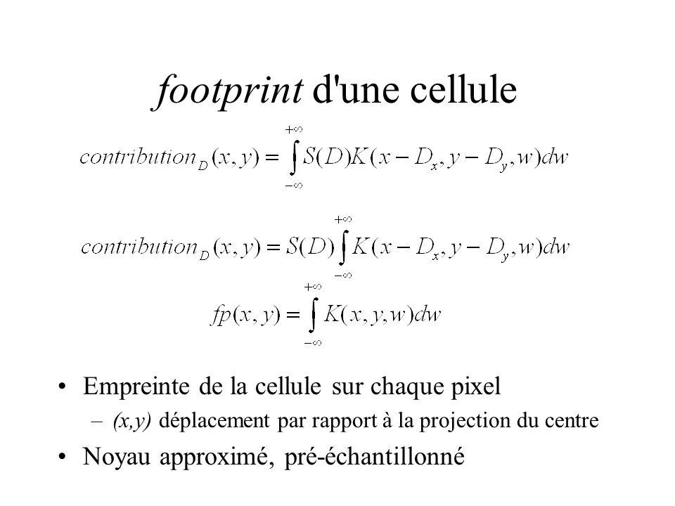footprint d une cellule Empreinte de la cellule sur chaque pixel –(x,y) déplacement par rapport à la projection du centre Noyau approximé, pré-échantillonné