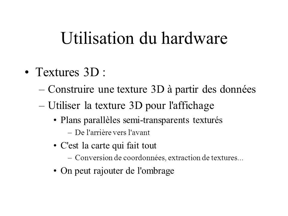Utilisation du hardware Textures 3D : –Construire une texture 3D à partir des données –Utiliser la texture 3D pour l'affichage Plans parallèles semi-t