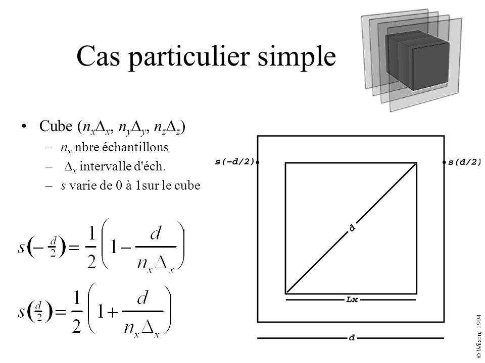 Cas particulier simple Cube (n x x, n y y, n z z ) –n x nbre échantillons – x intervalle d'éch. –s varie de 0 à 1sur le cube © Wilson, 1994
