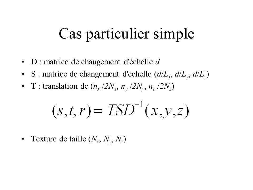 Cas particulier simple D : matrice de changement d échelle d S : matrice de changement d échelle (d/L x, d/L y, d/L z ) T : translation de (n x /2N x, n y /2N y, n z /2N z ) Texture de taille (N x, N y, N z )