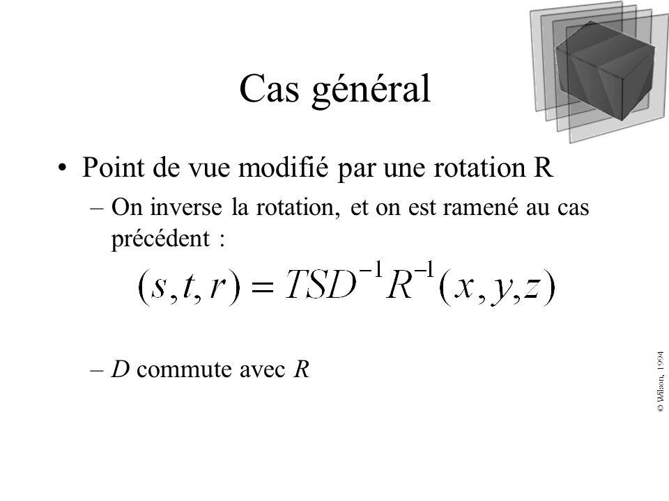 Cas général Point de vue modifié par une rotation R –On inverse la rotation, et on est ramené au cas précédent : –D commute avec R © Wilson, 1994