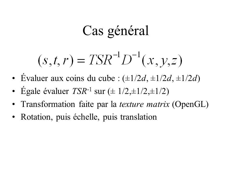Cas général Évaluer aux coins du cube : (±1/2d, ±1/2d, ±1/2d) Égale évaluer TSR -1 sur (± 1/2,±1/2,±1/2) Transformation faite par la texture matrix (OpenGL) Rotation, puis échelle, puis translation