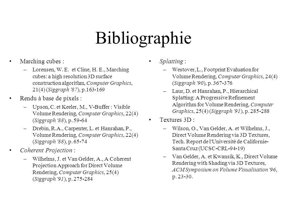 Bibliographie Marching cubes : –Lorensen, W. E. et Cline, H.