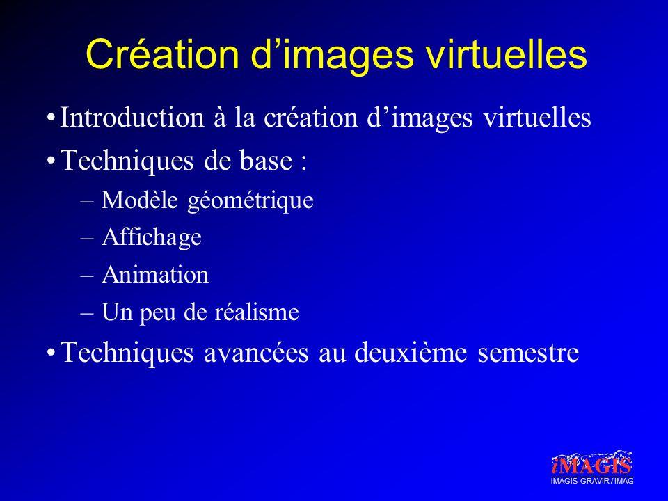 iMAGIS-GRAVIR / IMAG Création dimages virtuelles Introduction à la création dimages virtuelles Techniques de base : –Modèle géométrique –Affichage –An