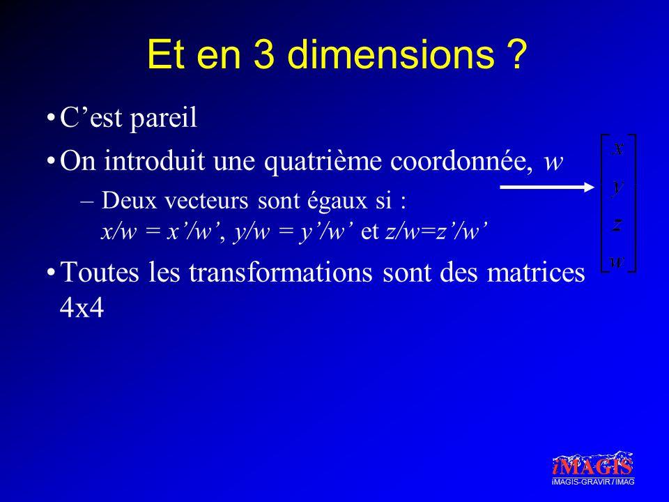 iMAGIS-GRAVIR / IMAG Et en 3 dimensions ? Cest pareil On introduit une quatrième coordonnée, w –Deux vecteurs sont égaux si : x/w = x/w, y/w = y/w et