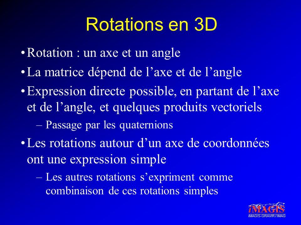 iMAGIS-GRAVIR / IMAG Rotations en 3D Rotation : un axe et un angle La matrice dépend de laxe et de langle Expression directe possible, en partant de laxe et de langle, et quelques produits vectoriels –Passage par les quaternions Les rotations autour dun axe de coordonnées ont une expression simple –Les autres rotations sexpriment comme combinaison de ces rotations simples
