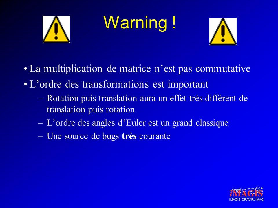 iMAGIS-GRAVIR / IMAG Warning ! La multiplication de matrice nest pas commutative Lordre des transformations est important –Rotation puis translation a