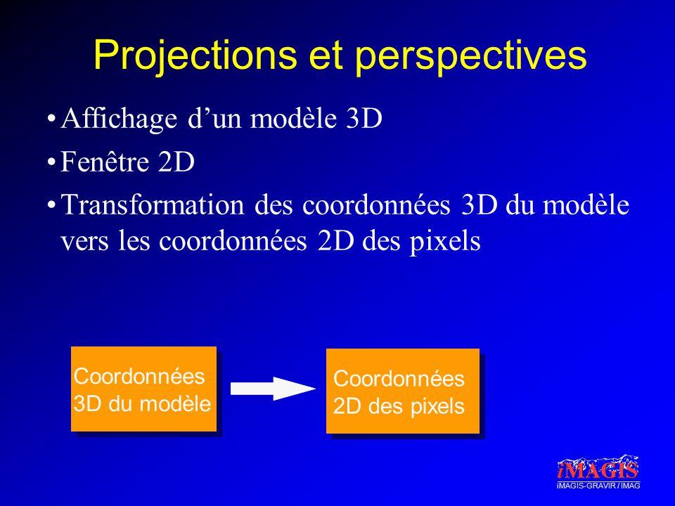 iMAGIS-GRAVIR / IMAG Projections et perspectives Affichage dun modèle 3D Fenêtre 2D Transformation des coordonnées 3D du modèle vers les coordonnées 2