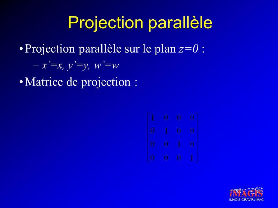 iMAGIS-GRAVIR / IMAG Projection parallèle Projection parallèle sur le plan z=0 : –x=x, y=y, w=w Matrice de projection :
