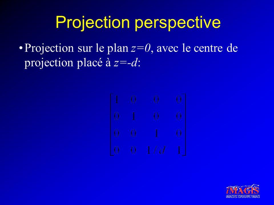 iMAGIS-GRAVIR / IMAG Projection perspective Projection sur le plan z=0, avec le centre de projection placé à z=-d: