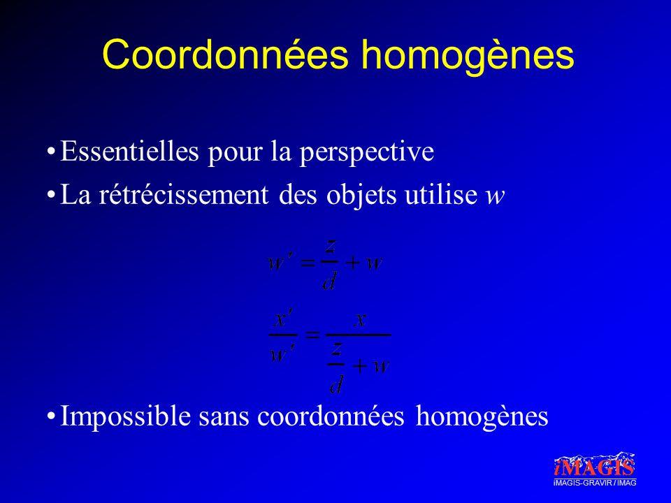 iMAGIS-GRAVIR / IMAG Coordonnées homogènes Essentielles pour la perspective La rétrécissement des objets utilise w Impossible sans coordonnées homogènes