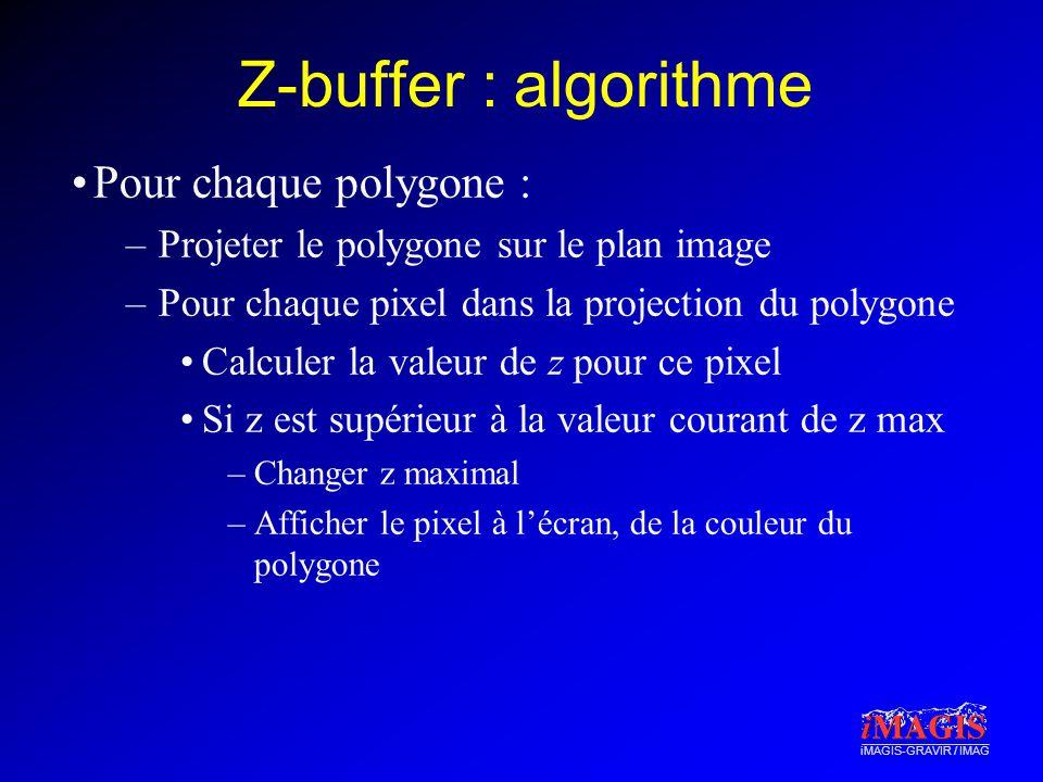 iMAGIS-GRAVIR / IMAG Z-buffer : algorithme Pour chaque polygone : –Projeter le polygone sur le plan image –Pour chaque pixel dans la projection du polygone Calculer la valeur de z pour ce pixel Si z est supérieur à la valeur courant de z max –Changer z maximal –Afficher le pixel à lécran, de la couleur du polygone